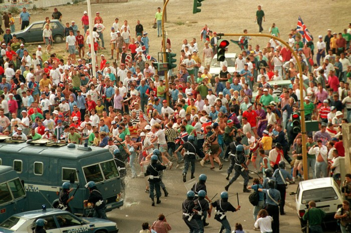 England fans riot with police before Holland game 1990 during the World Cup in Italy