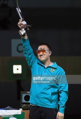 on Day 1 of the Rio 2016 Olympic Games at the Olympic Shooting Centre on August 6, 2016 in Rio de Janeiro, Brazil.