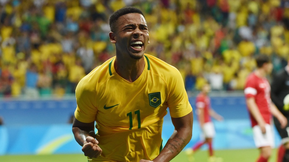 Gabriel Jesus of Brazil celebrates his goal against Denmark during the Rio 2016 Olympic Games mens first round Group A football match Brazil vs Denmark, at the Arena Fonte Nova Stadium in Salvador, Brazil on August 10, 2016. / AFP / NELSON ALMEIDA (Photo credit should read NELSON ALMEIDA/AFP/Getty Images)